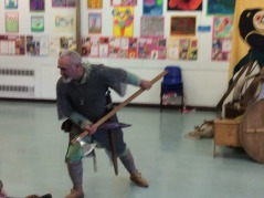 Hrothgar teaches Y5 & 6 about Viking weapons