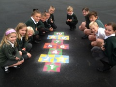 Student Council admire the new hopscotch